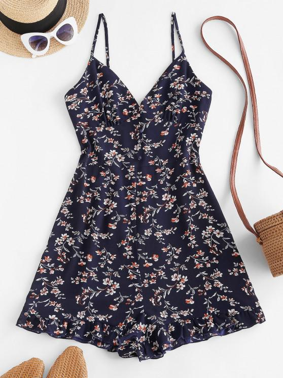 trendy ZAFUL Floral Ruffle Smocked Wide Leg Cami Romper - DEEP BLUE L