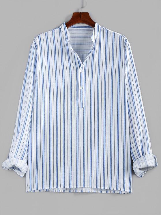 shop ZAFUL Striped Print Half Button Kurta Casual Shirt - BLUE 2XL