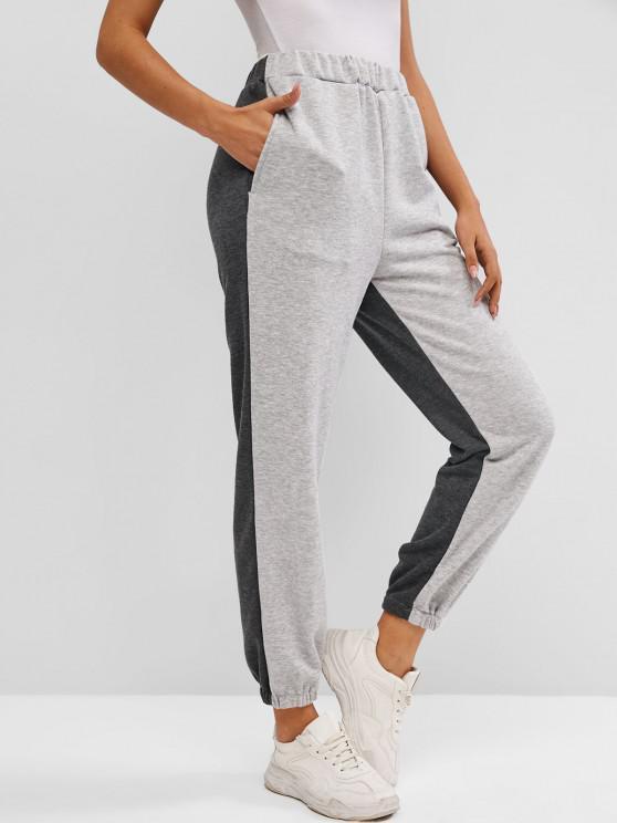 Pantalon de Jogging Bicolore - Gris L