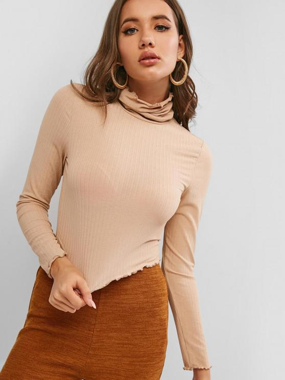 ZAFUL Turtleneck  Lettuce Trim Crop Knitwear - الجمل الجمل XL