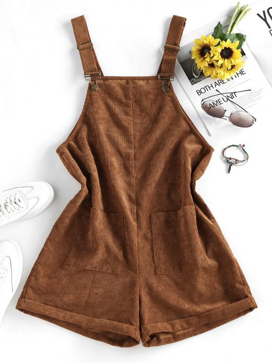 fashion ZAFUL Pocket Rolled Corduroy Pinafore Romper - CARAMEL S