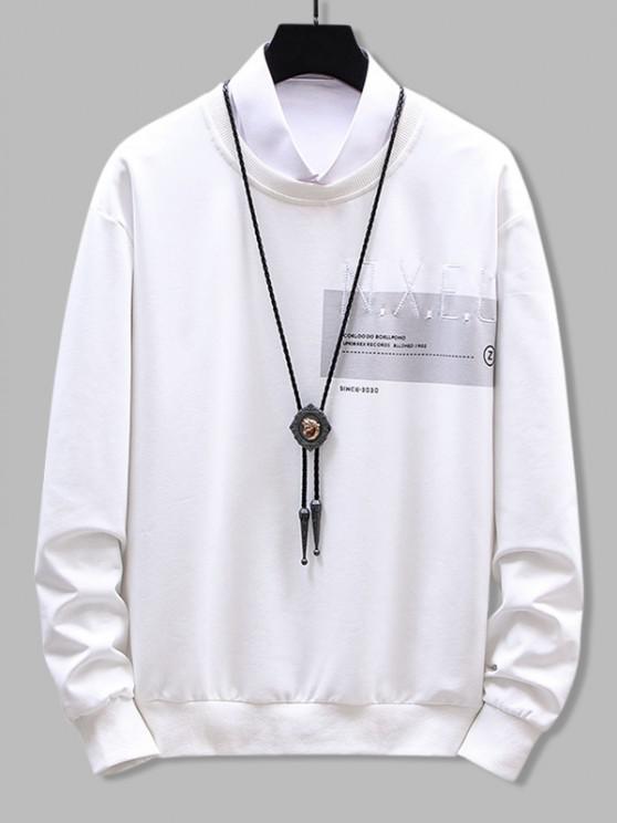 hot Crew Neck Letter Graphic Print Sweatshirt - WHITE XS