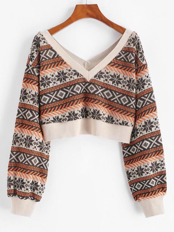 ZAFUL Drop Shoulder Plunging Crop Sweater - قهوة M