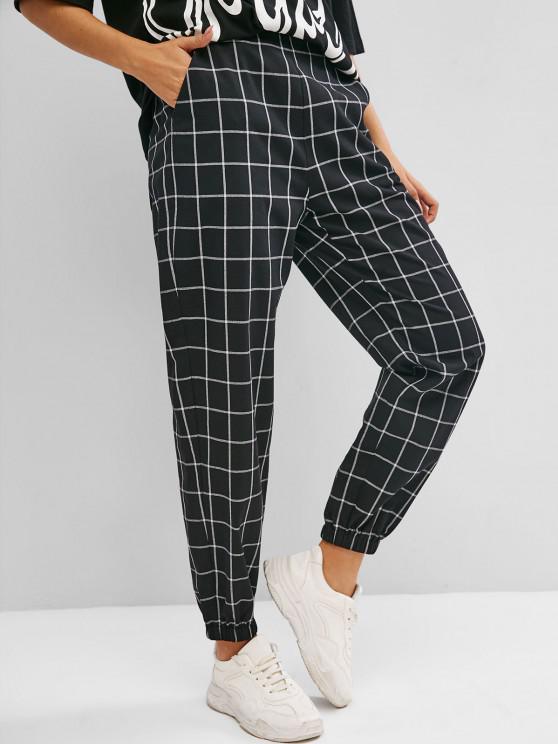 ZAFUL Pantalon à Carreaux Taille Haute avec Poche à Manchettes Elastique - Noir M