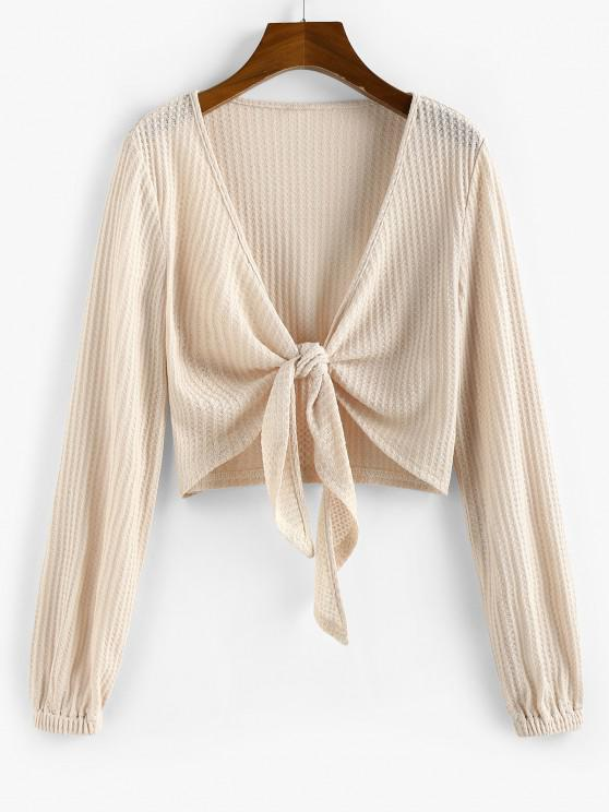 ZAFUL Knot Front Ribbed Cropped Cardigan - مشمش M
