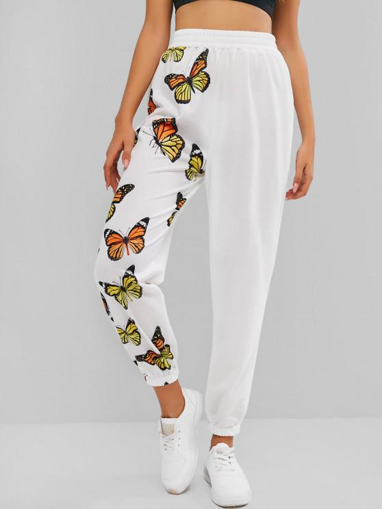 fashion ZAFUL High Waisted Butterfly Print Elastic Cuff Pants - WHITE M
