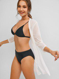 Shadow Stripes Side Slit Longline Cover Up - White S