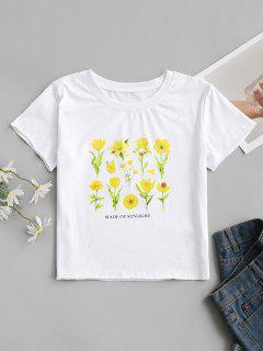 MADE OF SUNLIGHT Floral Graphic Tee - White L