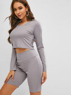 Ribbed Hooded Long Sleeve Two Piece Biker Shorts Set - Gray M
