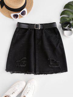 Frayed Hem Ripped Denim Mini Skirt - Black L