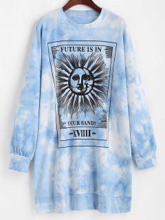 Robe Sweatshirt Décontractée Graphique Teinté Soleil - Bleu S
