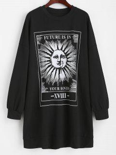Casual Sun Graphic Tie Dye Sweatshirt Dress - Black L