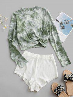 Tie Dye Twist Ribbed Two Piece Set - Light Green M