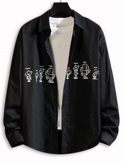 Cartoon Animal Print Drop Shoulder Shirt - Black 3xl