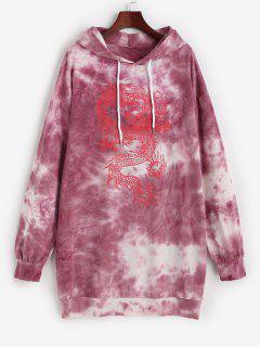 Robe à Capuche Teintée Dragon Oriental Imprimé - Rouge S