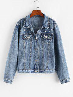 Faux Pearl Button Up Trucker Denim Jacket - Light Blue M