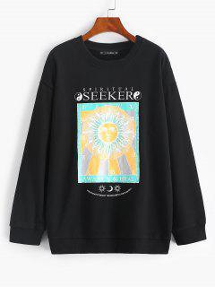 Sweat-shirt Tournesol Et Soleil Imprimés à Goutte Epaule - Noir S