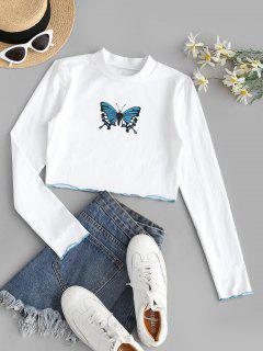 T-shirt Court Brillant Papillon Imprimé à Ourlet Contrasté - Blanc Lait L