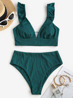 ZAFUL Ribbed Ruffle Plunging Tankini Swimwear - Deep Green S