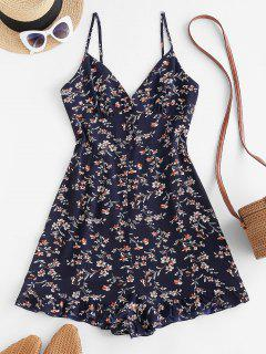 ZAFUL Floral Ruffle Smocked Wide Leg Cami Romper - Deep Blue M