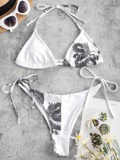 ZAFUL Oriental Dragon Print Skimpy String Bikini Swimwear - White S