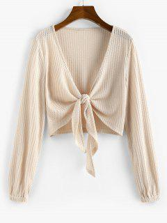 ZAFUL Knot Front Ribbed Cropped Cardigan - Apricot Xl