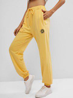 ZAFUL Sun Embroidered Pocket Drawstring Jogger Pants - Bright Yellow S