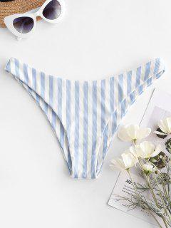 ZAFUL Striped Ribbed Cheeky Bikini Bottom - Light Blue S