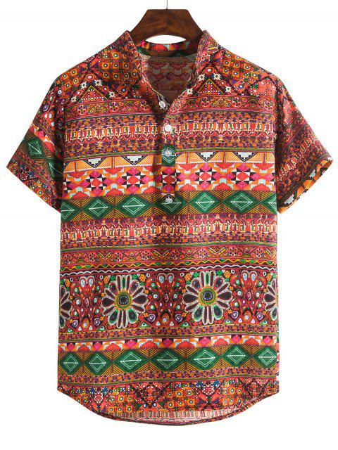lady Ethnic Seamless Geo Print Stand Collar Henley Shirt - MULTI-B 3XL Mobile