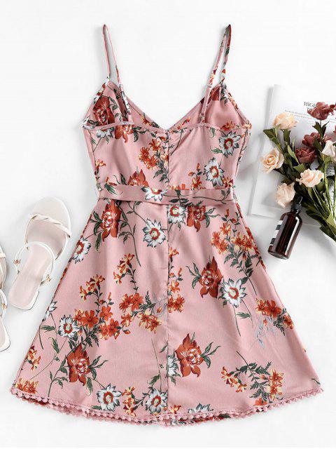 hot ZAFUL Pompom Floral Print A Line Dress - KHAKI ROSE XL Mobile
