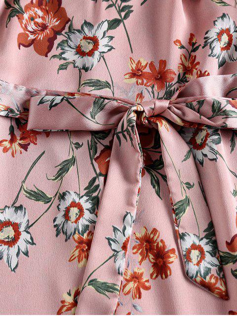 ZAFUL Robe Ligne A Fleurie Imprimée à Pompon - Rose Kaki L Mobile