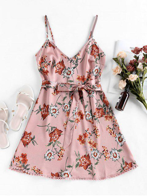womens ZAFUL Pompom Floral Print A Line Dress - KHAKI ROSE M Mobile