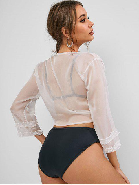 new Ruffled Trim Knotted See Thru Cover Up Top - WHITE ONE SIZE Mobile