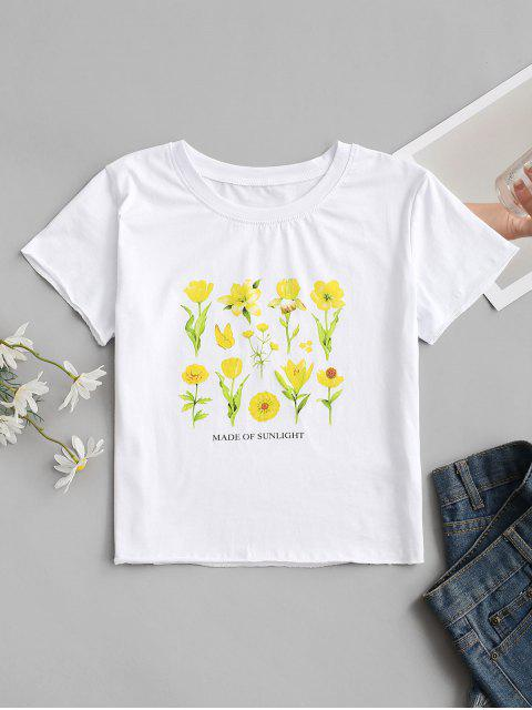 new MADE OF SUNLIGHT Floral Graphic Tee - WHITE S Mobile