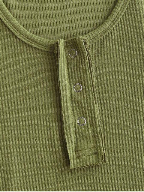 Canotta a Costine in Tinta Unita con Bottoni Automatici - Verde M Mobile