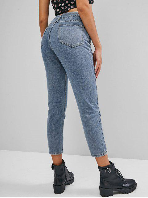 online Plain Skinny High Waisted Jeans - LIGHT BLUE L Mobile