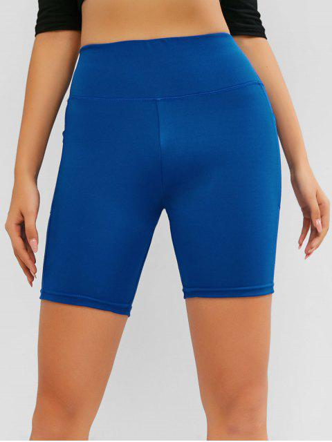 lady High Waisted Yoga Shorts - BLUE S Mobile
