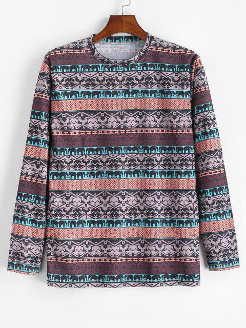 T-shirt Geometrica con Motivo di Elefante - Marrone Cammello L Mobile