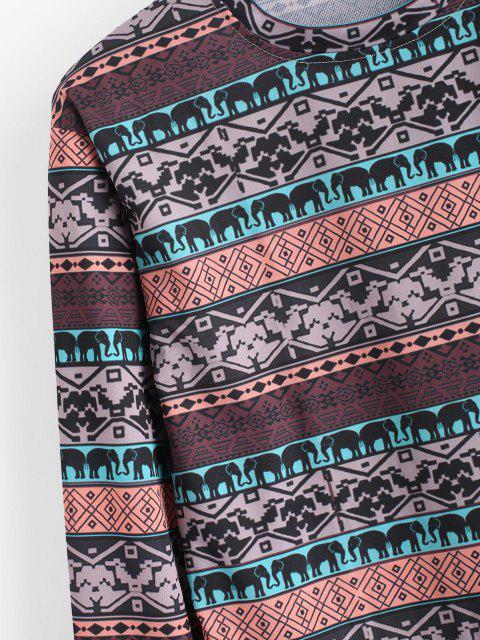 T-shirt Geometrica con Motivo di Elefante - Marrone Cammello 3XL Mobile