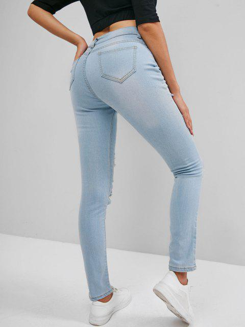 women High Rise Destroyed Skinny Jeans - LIGHT BLUE XL Mobile