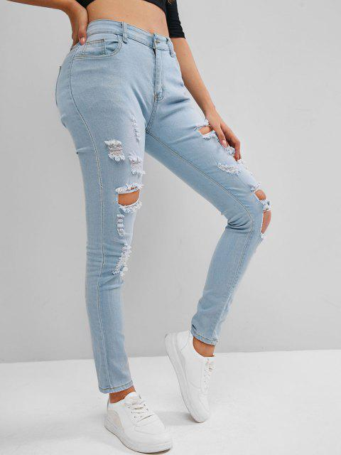 ladies High Rise Destroyed Skinny Jeans - LIGHT BLUE M Mobile