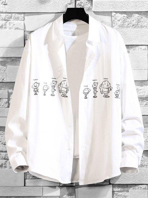 漫画のアニマルプリントドロップショルダーシャツ - 白 2XL Mobile