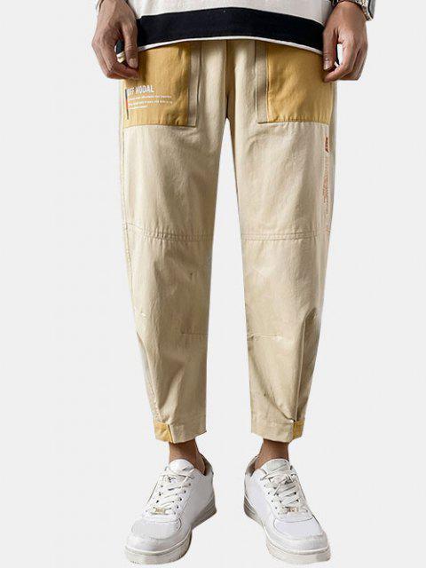 Pantalones de Carga de Estampado de Letras de Gancho - Amarilla de Abeja  XS Mobile