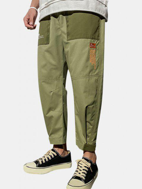 hot Letter Text Hook Hem Pull On Cargo Pants - ARMY GREEN S Mobile
