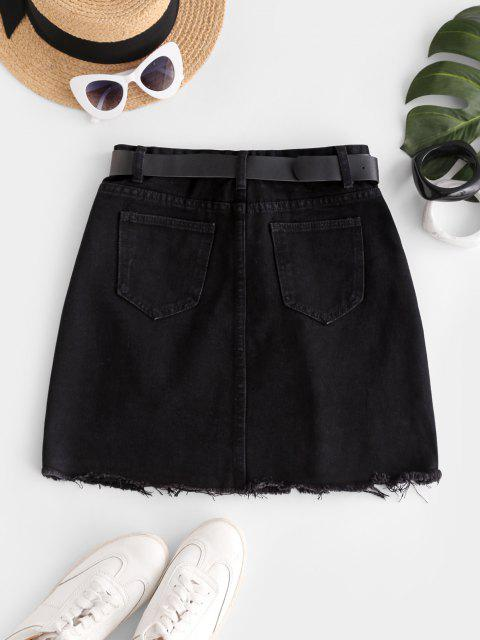 ladies Frayed Hem Ripped Denim Mini Skirt - BLACK L Mobile