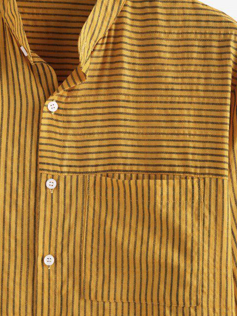 lady ZAFUL Striped Print Button Up Casual Pocket Shirt - YELLOW S Mobile
