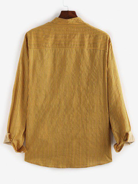 ZAFUL Striped Print Button Up Casual Pocket Shirt - الأصفر S Mobile