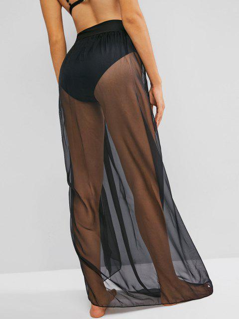 unique See Through Maxi Wrap Skirt - BLACK M Mobile