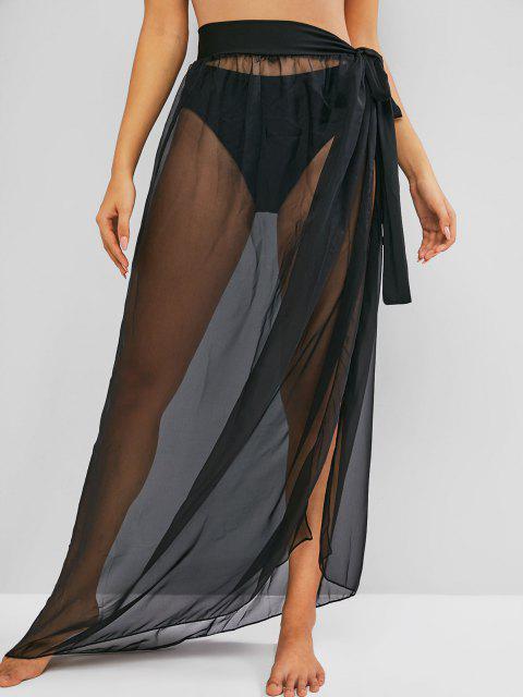 affordable See Through Maxi Wrap Skirt - BLACK XL Mobile