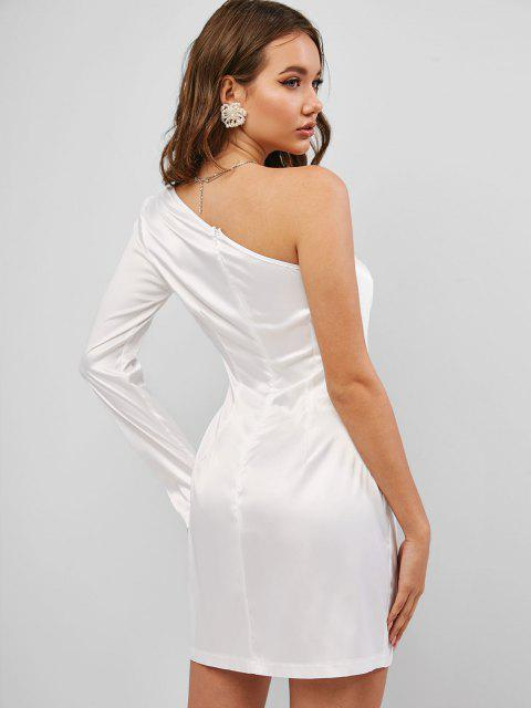 buy One Shoulder Silky Satin Dress - WHITE M Mobile